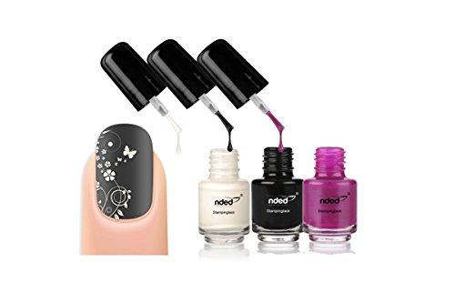 Lot 3 Vernis stamping Blanc / Noir / Violet - nail art - Nded - 5ml