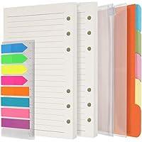 A6 Paper Refills 3 pack 270 pages lignées + 5 intercalaires colorés + 160 drapeaux d'index adhésifs fluo avec règle + 2…
