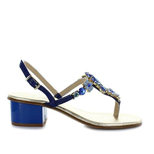 Giallo scarpe da donna sandalo mezzo tacco blu swarovski positano primavera estate 2018