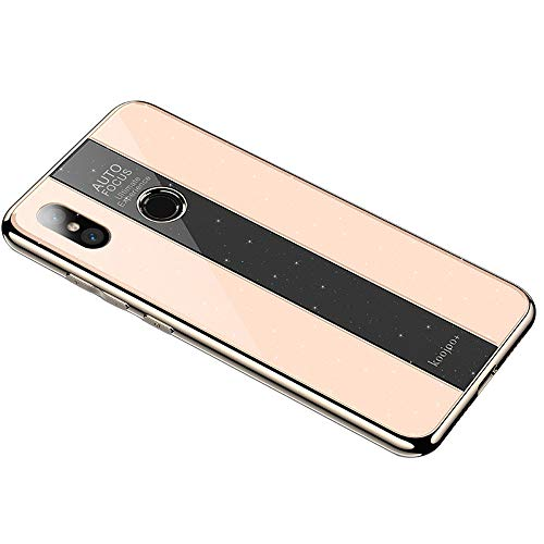 Funda para Xiaomi Mi Mix 2/Mix 2S Slim Carcasa Silicona Case de [Ultra Delgada] [Superficie de Vidrio] Caso Cover Caja del Teléfono (Dorado, Xiaomi Mi Mix 2S)