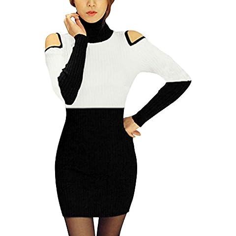 Mujer Cuello Alto Hombro Recortado Bloque Color Vestido Suéter