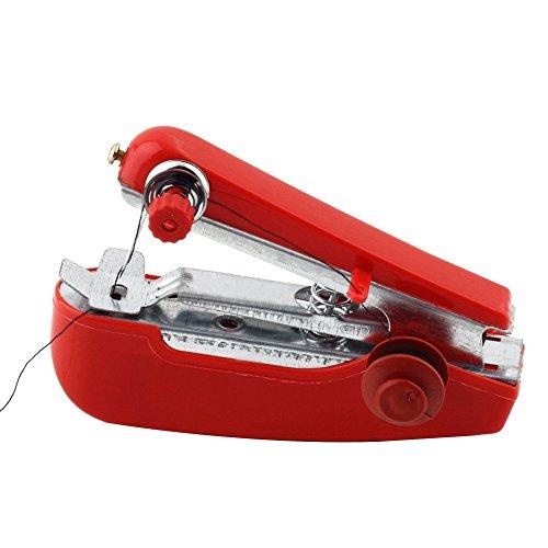 GOLDEN SPIKE® Mini Portatile Macchina per Cucire Manuale per Cucito Cura Abbigliamento Domestico (Rosso)