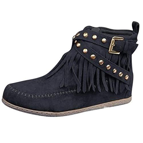 DNOQN Frauen Knöchel Kurze Stiefel Quasten Große Größe Stiefel Seitlicher Reißverschluss Nieten Nackte Stiefel Schwarz 40