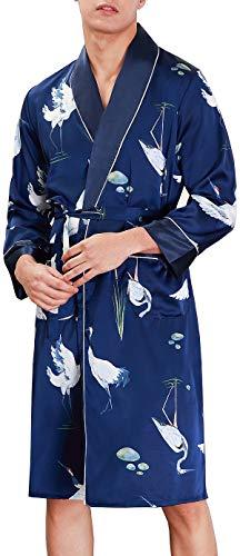 Chaos World Baño Largo para Hombre Satén Kimono Pijamas Bata Albornoz para Dormir/Casa/Cama Grulla...
