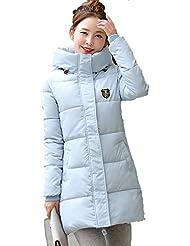 Griffin- Winter Collar del espesamiento encapuchado Pelo grande en el abrigo de la sección delgada larga del ocio femenino de algodón Ropa (seis colores, cinco tamaños para elegir) ( Color : Azul , Tamaño : XXXL )