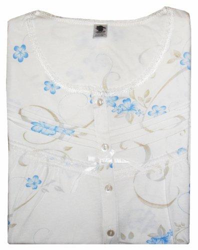 Fleurs d'été pour femme Nuisette coton à manches courtes pour homme Bleu - Bleu