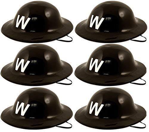 Warden Kostüm - 6 x WWII 40s Jahre schwarzer Kunststoff Armee Luft Raid Warden Soldaten Helm Militär Kostüm