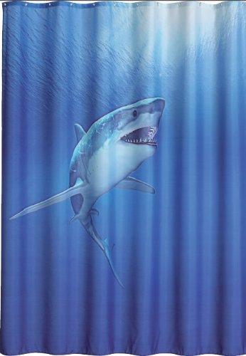 Duschvorhang Shark 180cm breit x 200cm lang Textil ohne Ringe blau Hai im Meer