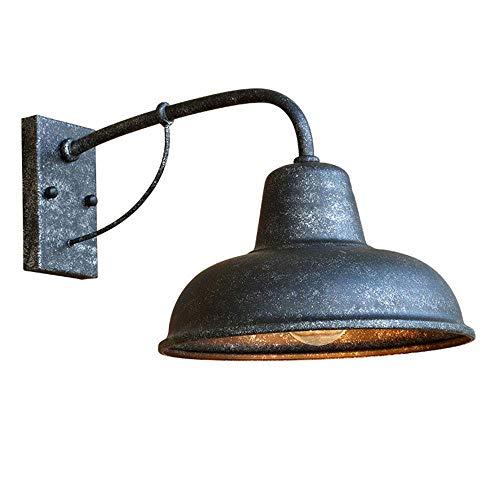 Retro Industrie Wandleuchten Aussen Innen Wandlampe Vintage E27 Wandlichter Metall Schatten Außenlampe für Außen Garten Loft Balkon Flurbereich Antik Matt-Silber,40 * 23 * 26CM IP44 - Eisen-wand-schatten