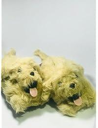 EMERGE WARM GOLDEN BROWN FUR DOG SLIP ON SHOES/SLIP ON SHOES