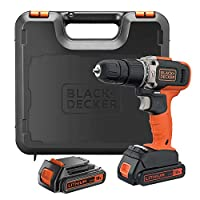 Black+Decker 18V 1.5Ah 650 RPM Combi Hammer Drill with 2 Batteries in Kitbox for Metal, Wod & Masonry Drilling & Screwdriving/Fastening, Orange/Black - BCD003C2K-GB, 2 Years Warranty