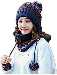 07262dd2be6 Stillshine Madame Bonnet Tricoté Épais d hiver pour Garder au Chaud avec  Cache-Oreilles Chapeau Écharpe