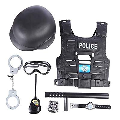Foxom Deguisement Policier Enfant - 8Pcs Enfant Police Set Jeu de Rôle Kit Policier: Gilet de Costume Policier, Casquette, Menottes, Insigne und Walkie Talkie, etc.