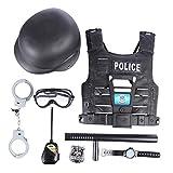 Foxom Juguetes Policiales, 8Pcs Viste a La Policía Juego de rol Set Juguetes, Incluyendo: Disfraz de Policía, Casco, Insignia, Esposas, Walkie Talkie y Bastón, Etc