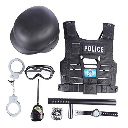 Giplar 8 Pcs Kinder Polizei Kostüm Set mit Helm, Schlagstock, Handschellen, Funkgerät und Taktische Weste