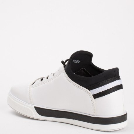 Ideal Shoes - Baskets nacrées avec languette en néoprène Nihama Blanc