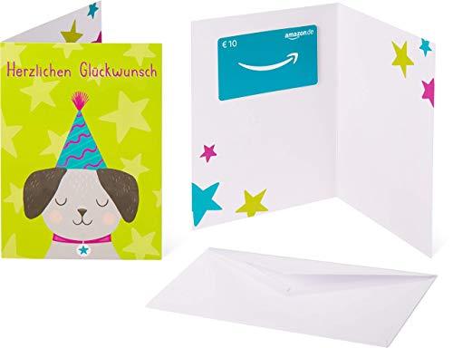 Amazon.de Geschenkkarte in Grußkarte - 10 EUR (Geburtstagshund)