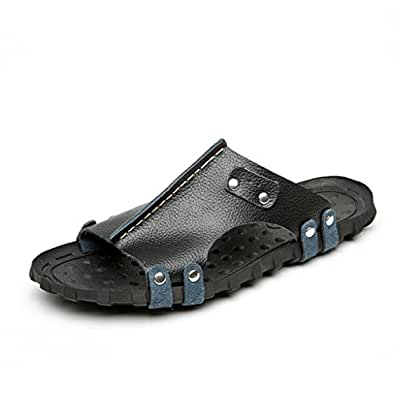 DWW-pantofole Sandali da uomo in pelle antiscivolo in gomma per esterni in pelle estiva da spiaggia ( Colore : B , dimensioni : EUR:43 )