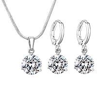 Swarovski Elements Women's 18K White Gold Plated Jewelry Set