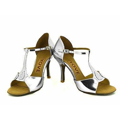 Scarpe da ballo-Personalizzabile-Da donna-Balli latino-americani / Salsa-Tacco su misura-Brillantini-Nero / Blu / Rosso / Argento / Dorato sliver