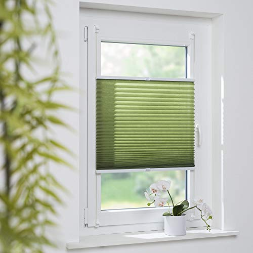 Cocoon Klemmfix-Plissee Plissee verspannt Fenstervorhang Faltvorhang Klemmträgermontage ohne Bohren | grün | 60 x 130 cm