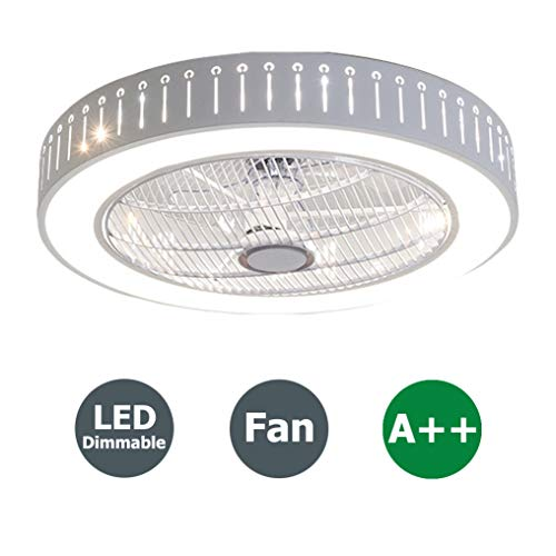 Moderne Deckenventilator mit Beleuchtung, Fernbedienung, Dimmbar LED Deckenleuchte Einstellbar Fan Leise Deckenventilator Wohnzimmer Schlafzimmer Kinderzimmer Deckenlampe, Ø58cm, 40W -