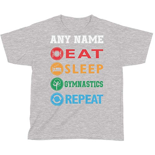 Threadrock Girls Eat Sleep Gymnastics Repeat Fitted T-shirt Sports Slogan