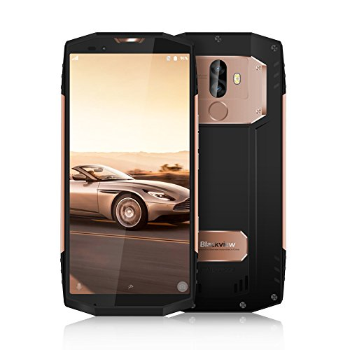 Blackview BV9000 Pro: 6GB + 128GB Robustes Full-HD DUAL-SIM Outdoor Smartphone 18:9 Full HD 4G Screen Wasser, Stoßgesichert, 13+5MP Dual Kamera und 4180mAh-Schnelladeakku, Face ID/NFC/GPS, Gold