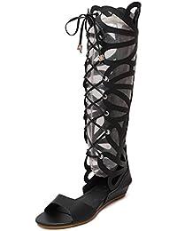 Aisun Damen Römisch Offene Zehe Knee-High Keilabsatz Cut Out Stiefel Sandale Mit Schnürung