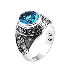 Idea Regalo - Aooaz Gioielli anello Uomini anello in argento sterling Anello da uomo in argento con topazio blu anello gotico