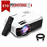 ABOX T22 Mini Proyector, LED 2400 Lúmenes Proyector Portátil de Cine en Casa 1080P Soporte Amazon Fire TV Stick, HDMI, VGA, USB, AV, iPad, iphone, Android Smartphone Multimedia Video Proyector
