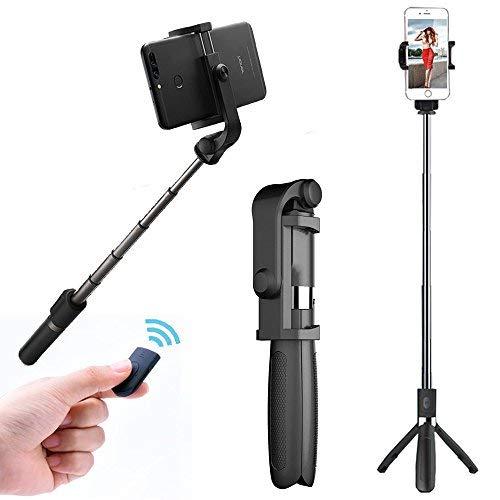 36 - GCBTECH Selfie Stick con trípode, 3 en 1 Teléfono móvil adaptador, Palo para selfies, Monopod Foto de control remoto Bluetooth para iPhone, Android, Samsung y otros smartphones (Negro)