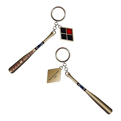 Suicide Squad Harley Quinn Baseballschläger Schlüsselanhänger Gold Metall 13cm