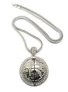 Magnifique collier de couleur argent à pendentif de Globe Terrestre, avec pierres de Strass, chaîne Franco l.4 mm L.91,4 cm RC83R