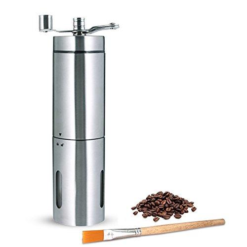 Manuelle Kaffeemühle - PiAEK Handkaffeemühle aus Edelstahl Konisches Keramikmahlwerk mit Reinigungsbürste