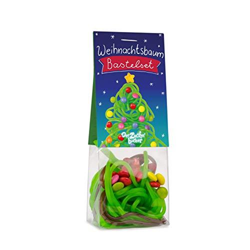 Weihnachtsbaum Bastelset, 45 Gramm, Fruchtgummi Schnüre mit Cola und Apfelgeschmack, Smarties und Stern in einem Naschbeutel, Süßer Tannenbaum zum Selberbasteln, Süßes Geschenk in der Adventszeit