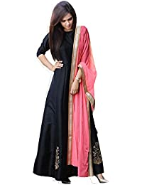 Caffoy Cloth Company Women's Black Color Taffeta Silk Designer Embroidered Party Wear Anarkali Suits.