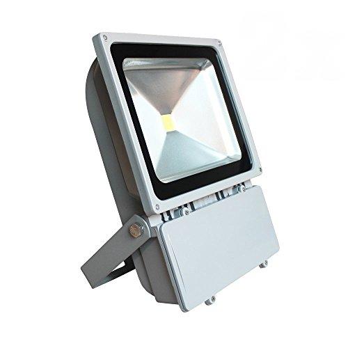 SAILUN® 100-200W Kaltweiß/Warmweiß LED Fluter Strahler Außenbeleuchtung Scheinwerfer Flutlicht Aluminium Wasserdicht IP65 AC85-265V Silber (100W - Uv-lampe Die Intensität