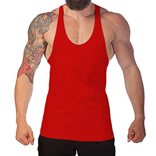 Juleya Bodybuilding Tank Top Uomo Stringer Fitness Singlet Camicia senza maniche Rosso