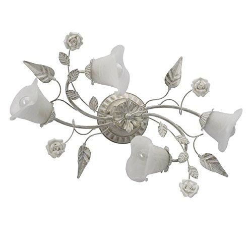 Lampade da soffitto bianche e colore oro, metallo, vetroceramica, a forma di fiore, Ø 63cm, 4 lampadine da 60w, e14, 230v