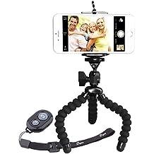 Trípode Para Movil, PEMOTech Flexible Trípode Portátil y Ajustable de Estilo del Pulpo + Montaje del Sostenedor Universal para Teléfonos Inteligentes + Obturador de Cámara de Control Remoto Inalámbrico de Bluetooth para iPhone 7 7 Plus 6s 6 6 Plus 5s 5, Samsung Galaxy S7 S7 Edge S6 S6 Edge S5 S4 etc (B - Negro/Negro)
