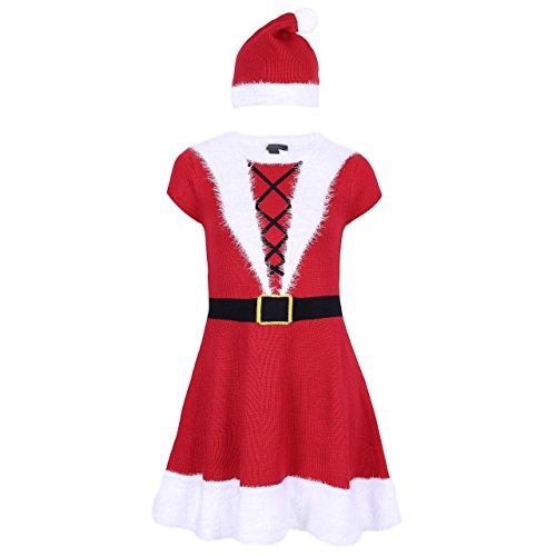Damen Weihnachtsfrau Kostüm Weihnachten Karneval Strickkleid mit Mütze Faux Fell - 40-42 / UK 14-16 / EU 42-44