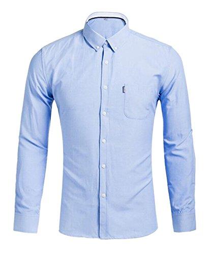 DD UP Herren Slim Fit Einfarbig Baumwolle Gemischt Casual Langarm Hemden Shirts 1