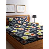 Just Muralidhar & Sons Pure Cotton Double Bedsheet with 2 Pillow Covers for Bed Room, Home, Hotel, (Multi color 15)