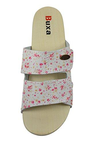 Buxa Cuir Sabots/Sandales Femme avec Double Velcro Bracelet et Sole en Caoutchouc Petite Fleur