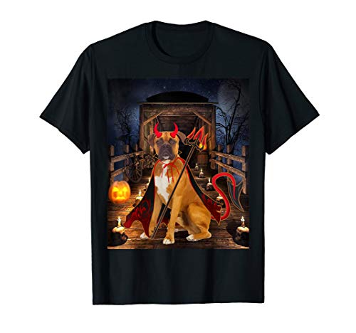 Devil Dog Schwarz T-shirt (Happy Halloween Boxer lover Funny Boxer Dog Devil  T-Shirt)