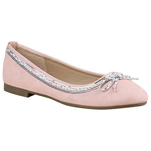 Klassische Damen Ballerinas Flats Slipper Flache Übergrößen Spitze Metallic Glitzer Schuhe 135366 Rosa Schleife 38 Flandell