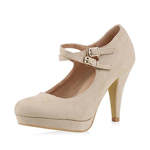 Damen Schuhe Pumps Mary Janes Plateau Absatzschuhe High Heels Creme T-Strap 38 Jennika