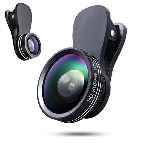 Universal 3 In 1 Cell Phone Camera Lens, 180 Degree Fisheye Lens, 0.4X Wide Angle Lens, 10X Macro Lens, Professional HD Clip-on Camera Lens for iphone, ipad, Samsung, Huawei, Tablet and Most Android Smartphone