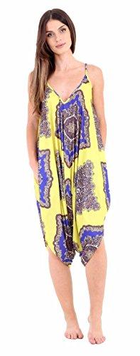 New Girl Fashions Damen Kleid XX-Large Gr. 46/48, Yellow Paisley (Paisley-20)
